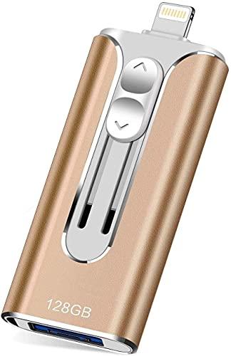 Great Performance - Memoria externa de 128 G USB Flash 3.0 para iOS, Android y ordenador (Golden 128GB)