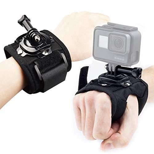 FAVENGO 2 Stück GoPro Handschlaufe 360 Grad Drehbar GoPro Halterung Flexibel Hand Arm Mount Schwarz Handgelenk Halterung Einstellbarer handschlaufe für Kamera GoPro Hero 7 6 5 4