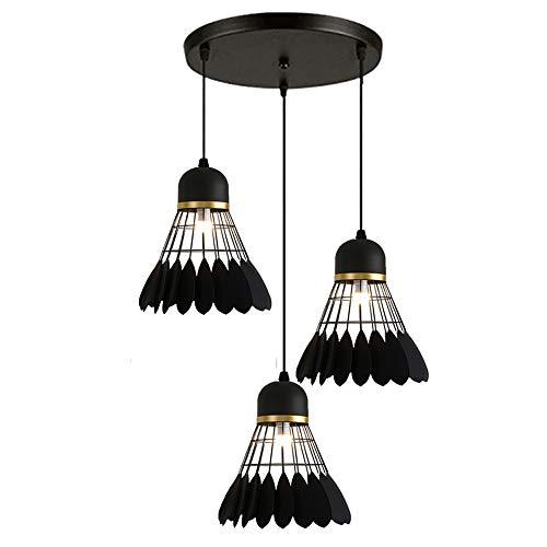Vintage Lustre Suspension Luminaire 3 Lampes Industrielle Badminton Cage Noir Style, Lampe de Plafond Rétro Abat-Jour, Noir