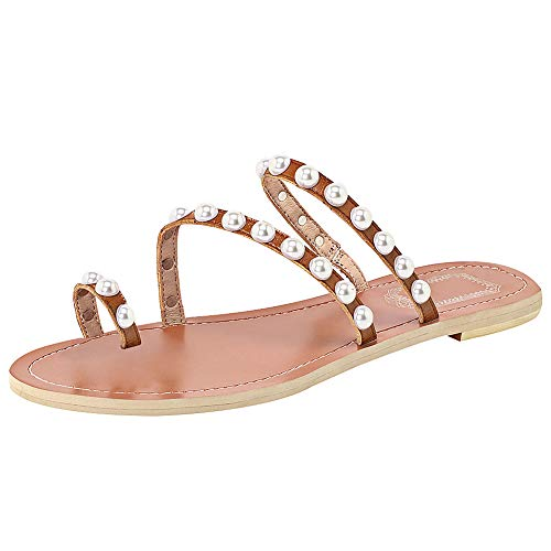 ANUFER Women's Bohemia Pearls Toe Ring Slippers Summer Flat Flip Flops Beach Shoes Brown SN02408-2 US8