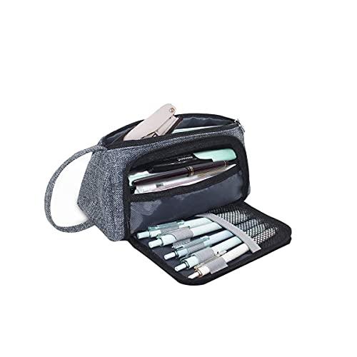 LY-Rack Caja de lápices de Gran Capacidad Holder Pluma Bolsa de Maquillaje Suministros Organizador de Almacenamiento con asa para Suministros (Blanco con Cuadrado) (Gris) (Color : Grey)
