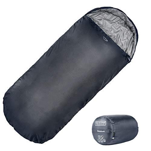 Highlander XL Schlafsack Extra großes Pod-Design, perfekt für Camping, Übernachtungen und Festivals - Leichte Einzelschlafsäcke, geeignet für Erwachsene und Jugendliche - The Sleephaven (schwarz)