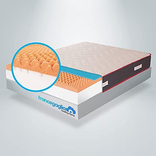 FRANCEGAGLIA- Materasso Matrimoniale Memory Foam - h25cm –Detraibile- Made in Italy- Più 2 cuscini in Memory Aloe Vera-Ausilio Medico-(160x190) Mod.Memory Relax