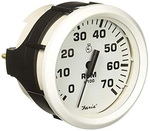 "Faria 33104 Dress Tachometer (7000 RPM) - 4"", White"