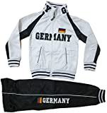 Kinder Jungen Mädchen Trainingsanzug Sportanzug Jogginganzug Hose Jacke Germany (Weiß, 140/146)
