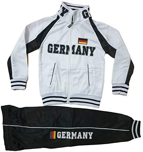 Kinder Jungen Mädchen Trainingsanzug Sportanzug Jogginganzug Hose Jacke Germany (Weiß, 128/134)