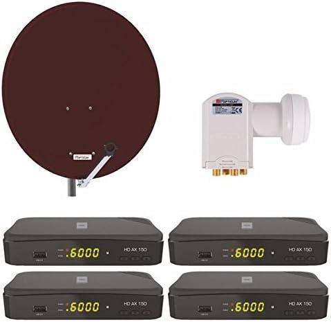 Opticum Digitale 4 Teilnehmer Satelliten Komplettanlage Opticum Hd Ax 150 Digitalreceiver Quad Lnb Qa 80 Cm Antenne Stahl Ziegelrot Heimkino Tv Video