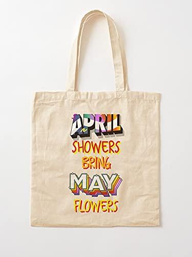 Générique Flowers Bring April Quotes May Showers Sayings   Sacs d'épicerie de Toile Sacs fourre-Tout avec poignées Sacs à provisions en Coton Durable