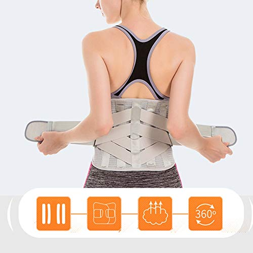 LSRRYD Adjustable Neoprene Back Support Belt Lumbar Support Brace for Pain Relief and Injury Prevention Lumbar Support Belt for Women Men for Back Pain Plus Size (Color : Black, Size : L)