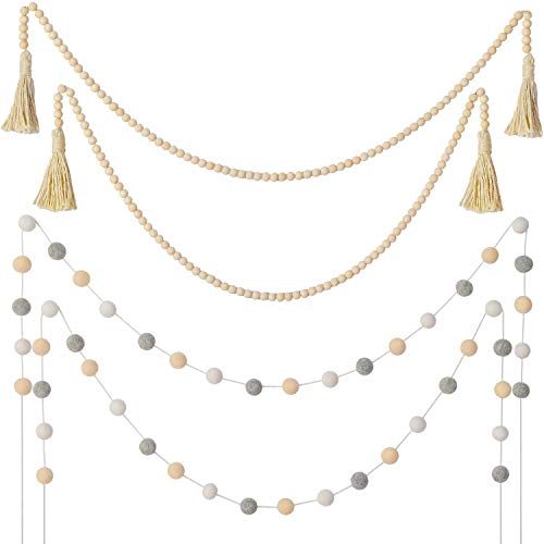 WILLBOND 2 Pieces Wooden Bead Garlands Farmhouse Rustic Country Beads and 2 Pieces Felt Ball Garlands Farmhouse Bead Tassel Hanging Garland for Christmas Party Home Decoration