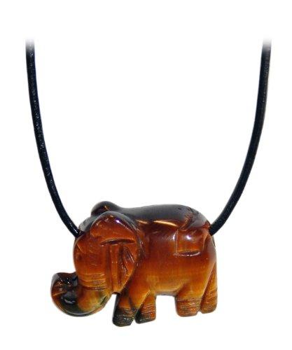Kaltner Präsente Geschenkidee - Lederkette für Damen und Herren mit Elefant Anhänger aus dem Edelstein Tigerauge