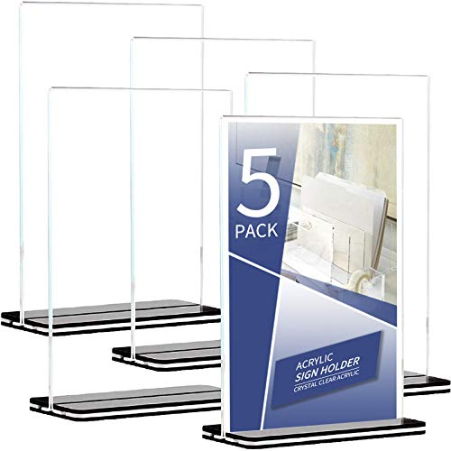Flysea Acrylic Sign Holder 8.5x5.9 - T Shape Table Top Display Stand,Double Sided, Bottom Load, Portrait Style Menu Ad Frame, Perfect for Restaurants, Promotions, Photo Frames, Classroom (A5)