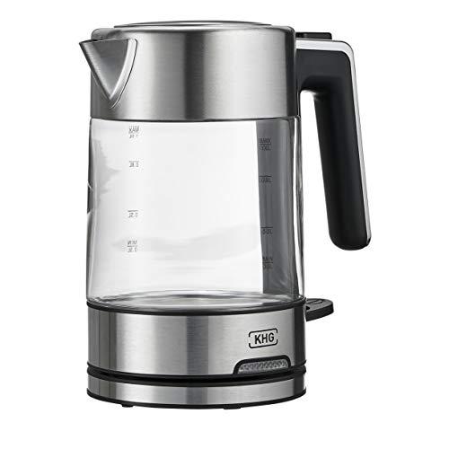 KHG Wasserkocher 1 Liter Edelstahl Glas klein 2.200 Watt Trockengehschutz automatische Abschaltung