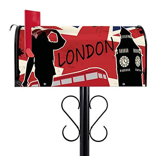 BANJADO US Mailbox | Amerikanischer Briefkasten 51x22x17cm | Letterbox Stahl schwarz | mit Motiv London Symbolik | inklusive schwarzem Ständer