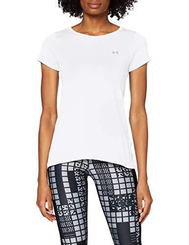 Under Armour Damen HeatGear Armour atmungsaktives T-Shirt für Frauen, kurzärmliges Funktionsshirt mit enganliegender Passform, Weiß (White), M