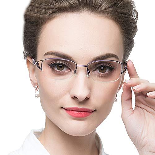 KLESIA レディース 老眼鏡 シニアグラス ブルーライトカット おしゃれ 超軽量 非球面レンズ QT (3.0, 高貴紫)