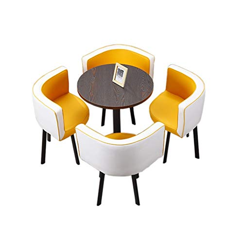 TXOZ-Q 5 Piezas de época Moderna Ronda de Negociación Inicio Presidente Tabla de combinación Simple recepción del Cuero del Ocio Sofá Café sede de la Oficina Salón (Color : White+Yellow)