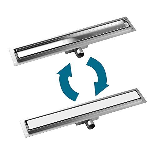 S SIENOC Canale di Doccia canalina di Scarico doccia sistemi drenaggio in acciaio inossidabile per bagno cucina (Tileable, 50cm)