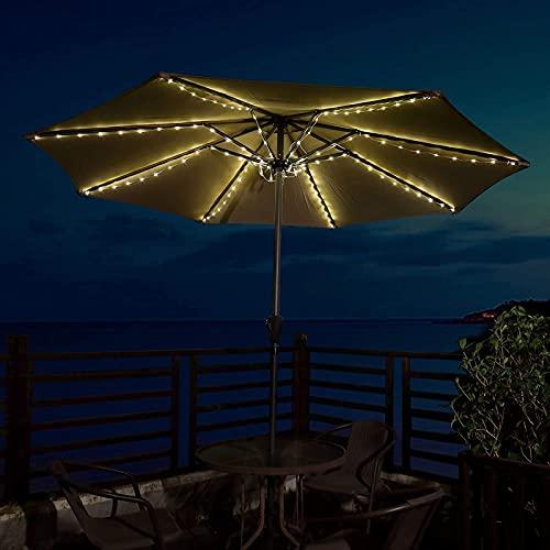 QFFL Luz Al Aire Libre del Paraguas del Patio, Lámpara de Tienda de Campaña, 8 Modo de Iluminación, 3 X Pilas AA, 104 Luces LED, para la Decoración del Jardín