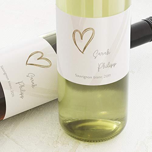 sendmoments Etiketten für Flaschen, Hearts, Sticker, selbstklebend, praktisch, individuell mit Wunschtext zur Hochzeit, für Weinflaschen, als Tischdekoration, Querformat, ab 10 Stück