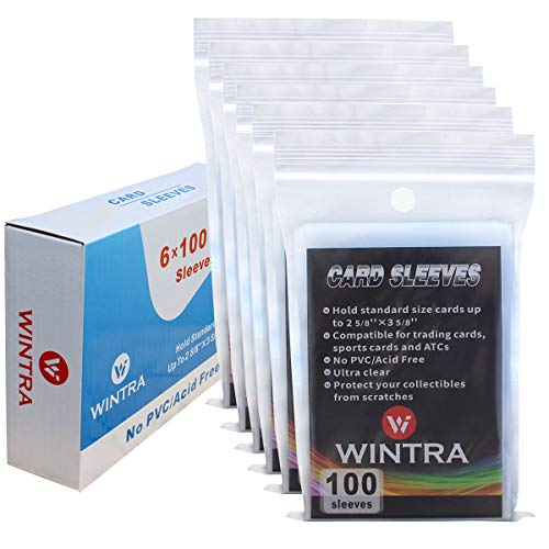 WINTRA 600 Count Ultra Clear Penny Card Sleeves,Soft Card Protectors for Baseball Cards, Sleeved Trading Cards