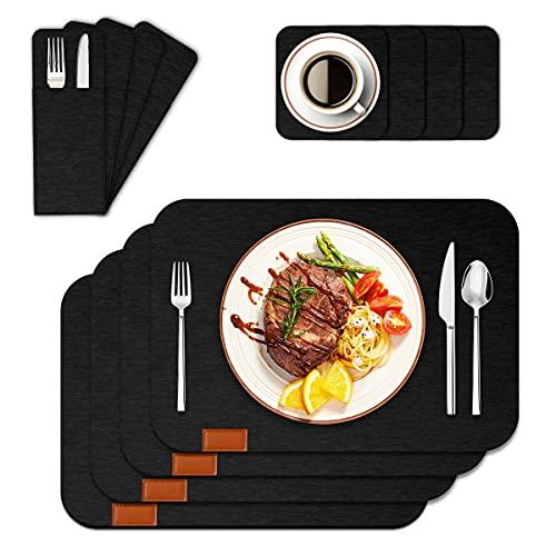 CS COSDDI Set di 4 tovagliette antiscivolo color antracite in feltro lavabile (43 x 30 cm), sottobicchieri, sottobicchieri, tavolo da pranzo, lavabili, colore nero