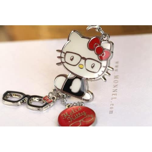 808011fa5 Z122 Adorable Red Style Hello Kitty & Glasses Charms Keychain Key Ring