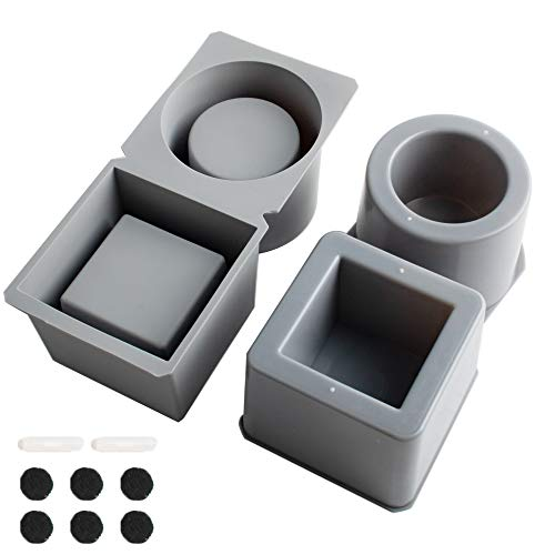 Concrete Silicone Mold for Flower Pots, Mini Pots Mold for Plants Square and Round Shape, 2 Pack