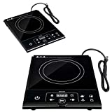 1800 watt Electric Digital Single Induction Cooker Burner Hot Plate Black Durable Sturdy Heavy Duty Portable LCD Display Versatile for Home Office Indoor Outdoor Household Camping Countertop Travel