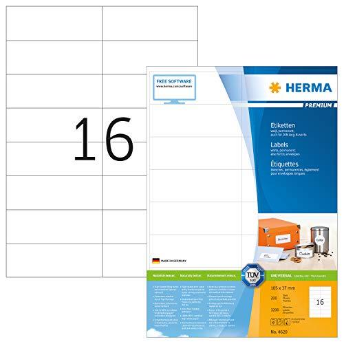 HERMA 4620 Universal Etiketten DIN A4 (105 x 37 mm, 200 Blatt, Papier, matt) selbstklebend, bedruckbar, permanent haftende Adressaufkleber, 3.200 Klebeetiketten, weiß