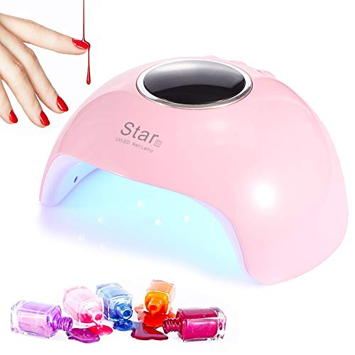 LEDGLE 36W UV Lampe für Nägel, 18 LED Nageltrockner mit 30/60/90s 3 Timer, 99s Zeiteinstellung mit Auto-Sensor, Nagellampe Geeignet für alle Gel nagellacke (Pink)