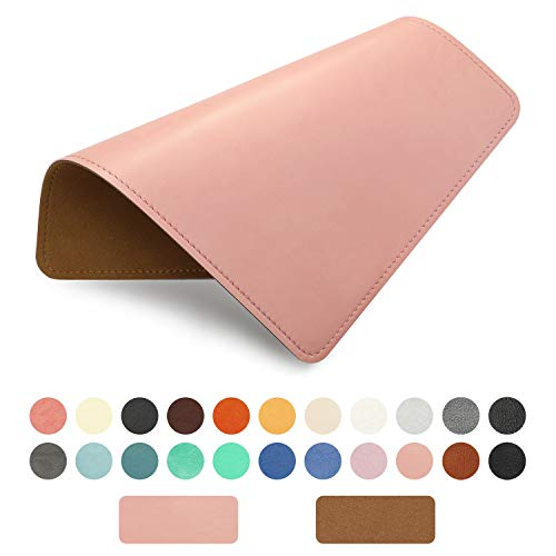 PU Leather Mouse Pad with Stitched Edge Micro-Fiber Base with Non-Slip, Waterproof, Mouse Pad for Computers, Laptop, Office & Home,1 Pack, 8inch11inch (Light Pink)
