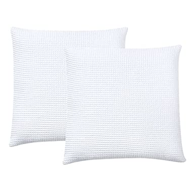 PHF Waffle Euro Sham Cover 100% Cotton Pack of 2 26  x 26  White