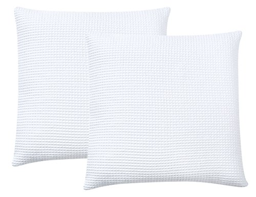PHF Waffle Weave Cushion Covers, Set of 2,18' x 18'(45cm),Home Decorative Throw Pillow Covers for Couch Sofa Bed, No Filling,White