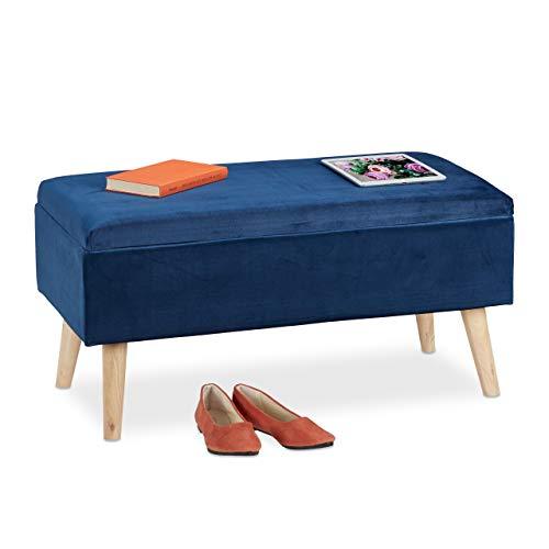Relaxdays Sitzbank mit Stauraum, Samtbezug, 40 L, gepolstert, Holzbeine, Flur, 2er Truhenbank, 41x80x40 cm, dunkelblau