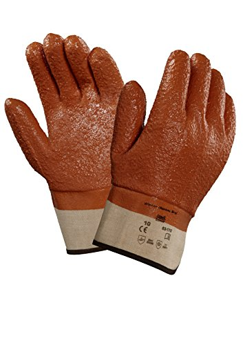 "Ansell 23173 Winter Monkey Grip Vinyl-Coated, Foam-Insulated Gloves, 11"" Length, 5.5"" Width, 0.92"" Height, Size 10, Orange (Pack of 12)"