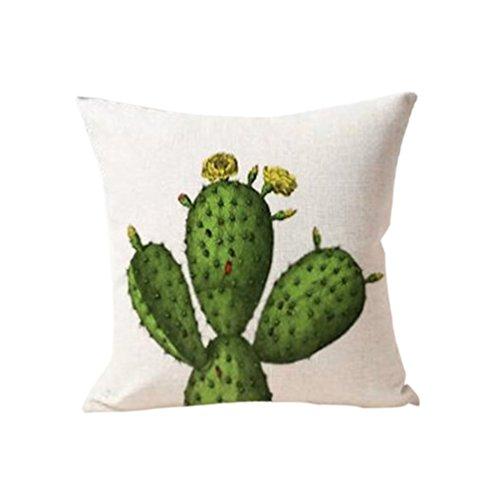 nighteyes66Cactus funda para cojín funda de almohada sofá decoración del hogar, Lino, 4#, talla única