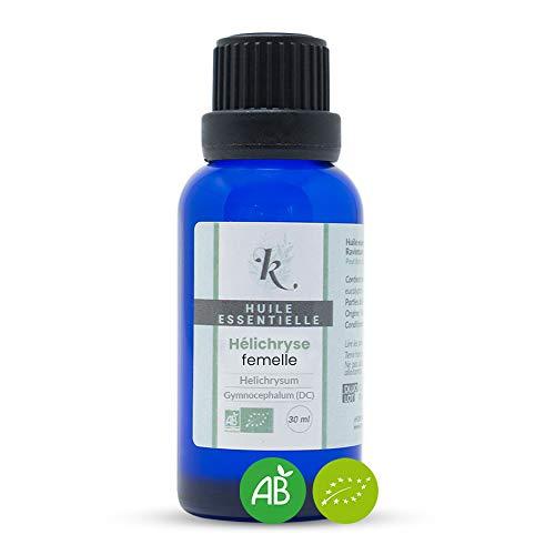KLARCHA - Huile Essentielle d'Hélichryse à Capitules HEBBD 30 ml - 100% Pure et Naturelle - Issue de l'Agriculture Biologique - Labellisée ECOCERT - Sans OGM - Fabriquée en France