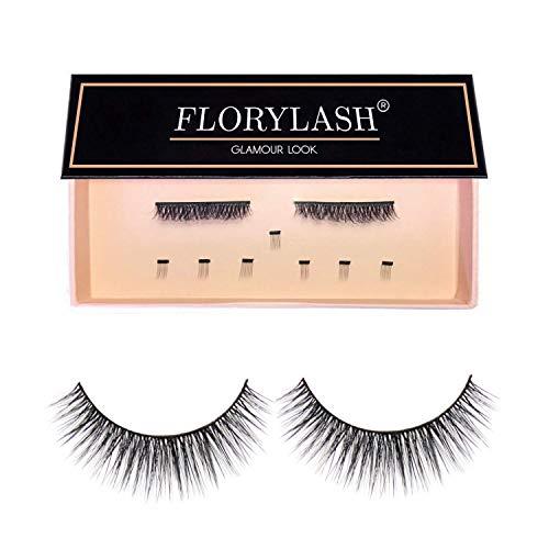 FLORYLASH®   Glamour Look - Magnetische Wimpern 3 Magnete Natürlich Magnetic Fake Lashes ohne Eyeliner 3D Volumen Set Wiederverwendbar