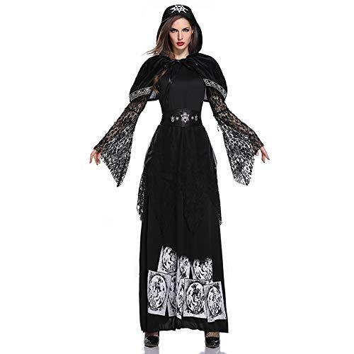 Disfraz de Bruja,Sacerdotisa/Bruja/Novia Fantasma/Vampiro,Disfraz de Bruja para Adultas,Disfraz de Carnaval,Accesorios de Cosplay de Halloween,Vestido de Fiesta de Noche - Mujer