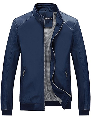 Tanming Men's Color Block Slim Casual Thin Lightweight Jacket (X-Large, Blue)