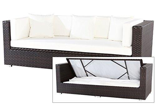 OUTFLEXX 3-Sitzer Sofa aus robustem Polyrattan in braun mit Kissenboxfunktion inkl. Kissen-Polster, 210 x 85 x 70 cm, Lounge Sofa Gartencouch für 3 Personen, wetterfest, vielseitig kombinierbar