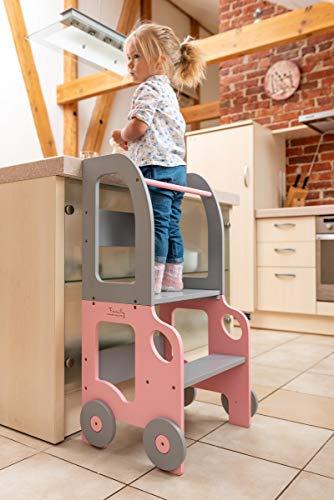 Toddler in Family Torre de Aprendizaje/Escritorio y Taburete Montessori (Rosa/Gris)