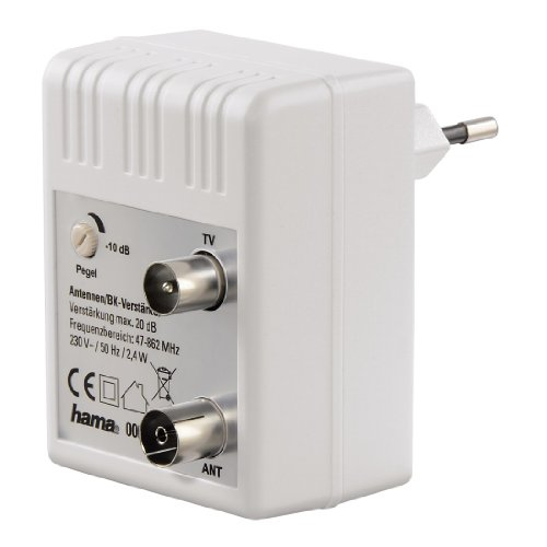 Hama Antennen-Verstärker für Kabel TV/ DVB-T/ Radio (regulierbar, Koax-Buchse/Koax-Stecker, Signalverstärkung bis zu 20 dB) weiß
