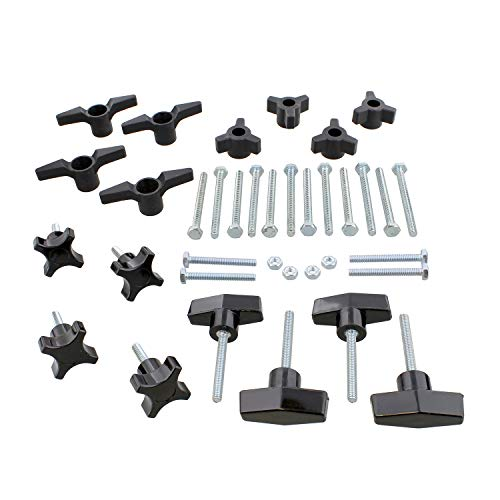 DCT Jig Hardware Kit – 36 Pc Woodworking Hardware Kit for Woodworking Jigs and Fixtures, T Track Accessories