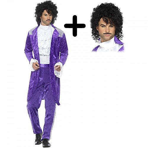 80s Purple + Wig Musician Mens Fancy Dress Icon Celebrity Prince Adults Costume (Large 42-44' Chest)