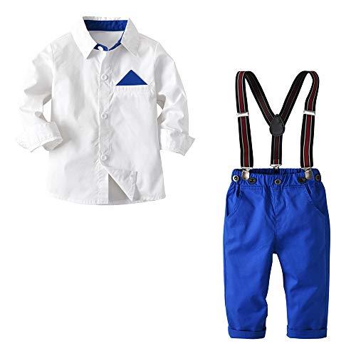 Chloefairy Baby Jungen Taufanzug Weiß Hemd Hose mit Hosenträger Bekleidungsset Outfit Set Langarm Hemd Warm Baumwolle Festlich für Kleinkinder Herbst Winter Hochzeit Taufe (Weiß, 100)