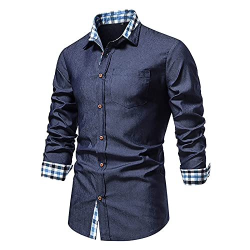 Tops for Men Rose Printed Long-sleeved Lapel Fashion Solid Color T-Shirts Autumn And Winter Casual Slim Fit Blouse Tee (06 Dark Blue, XL)