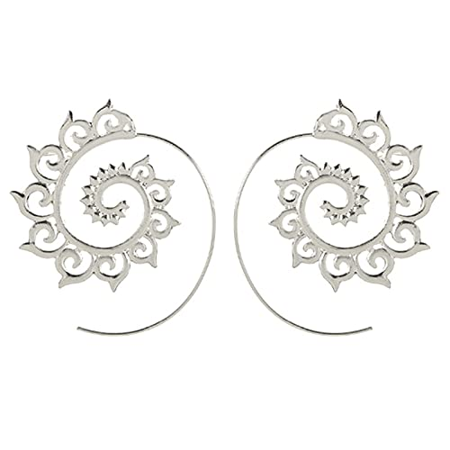 Pendientes de engranaje de remolino exagerado Círculo Espiral Joyería de oreja A