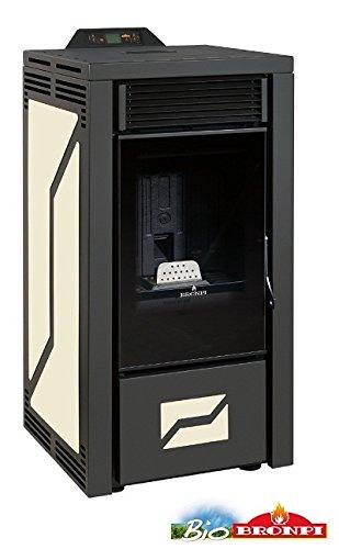 """bronpi - Estufa de pellets 12 kW Mod.""""Leticia Color Negro y Beige"""